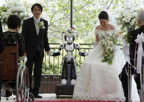In Japan, of course, it's different. A couple in Tokyo were married by a ...