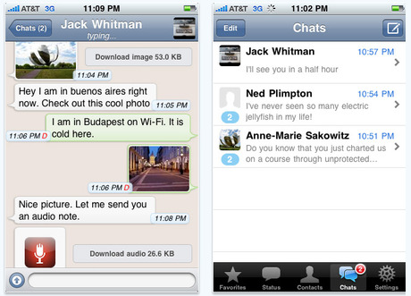 App Review: WhatsApp lets you instant message from iPhone to