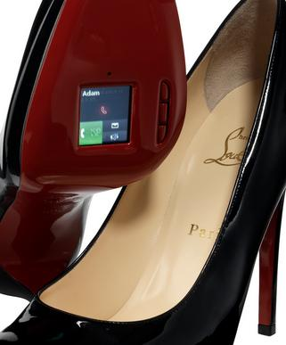 Christian Louboutin high heel shoe with integrated mobile