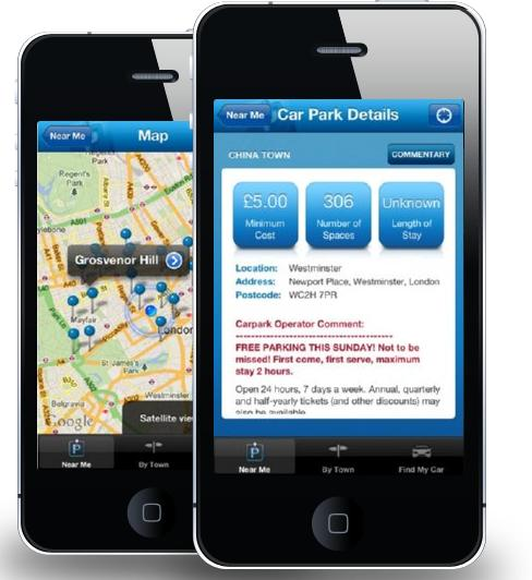 The Car Park Finder Iphone Android App Lands Shinyshiny
