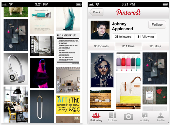 App of the day pinterest app for iphone and ipad just as for Pinterest download