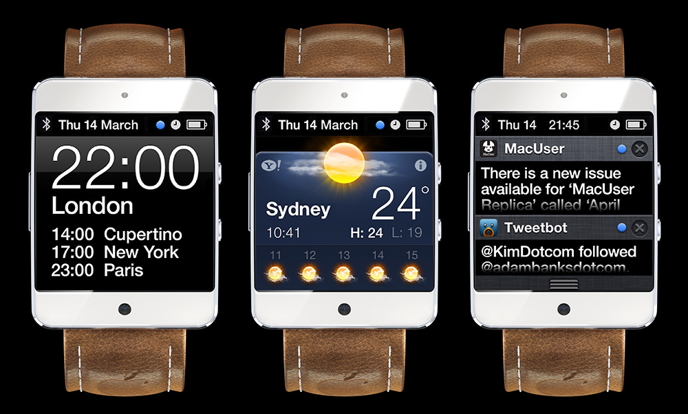 "MacUser ""iWatch"" mockup with user interface examples"