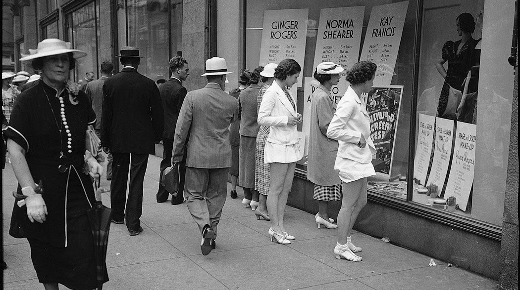 Window shopping at Simpsons, Toronto, 1937