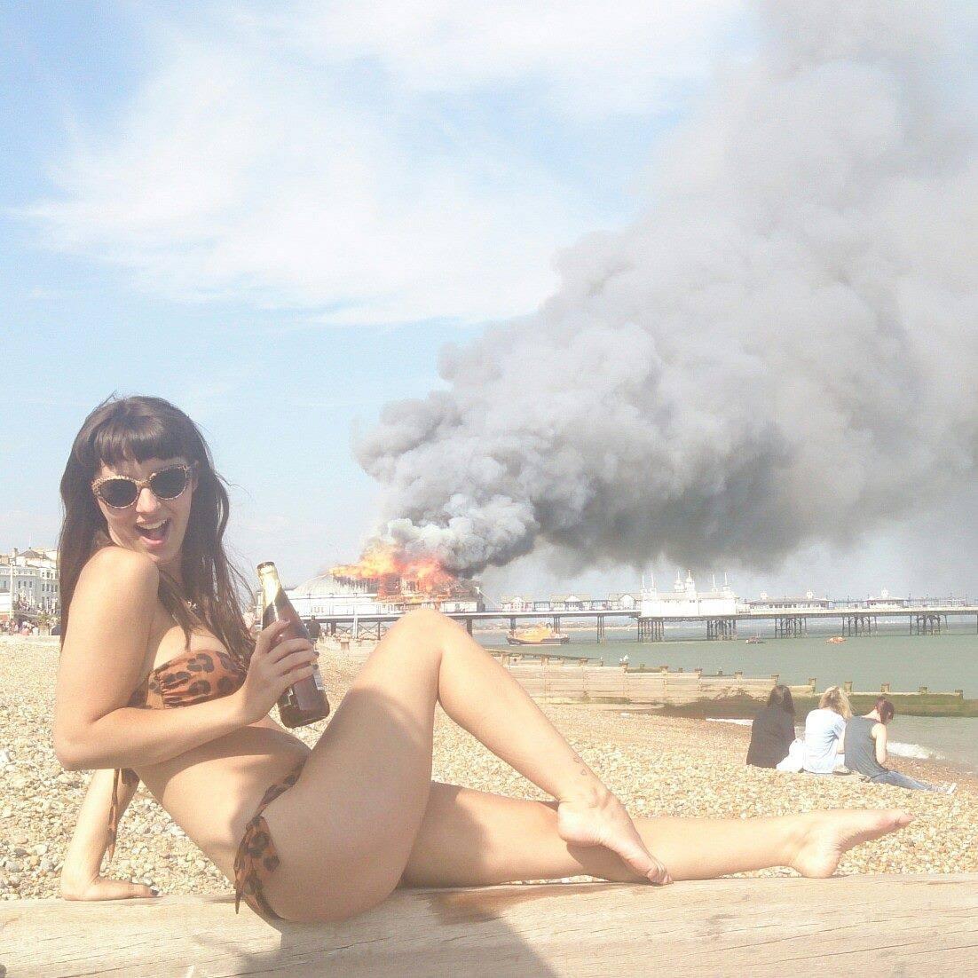 Selfie Bikini Teen A selfie: burning stuff,