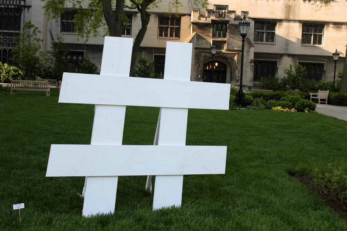 hash symbol sculpture