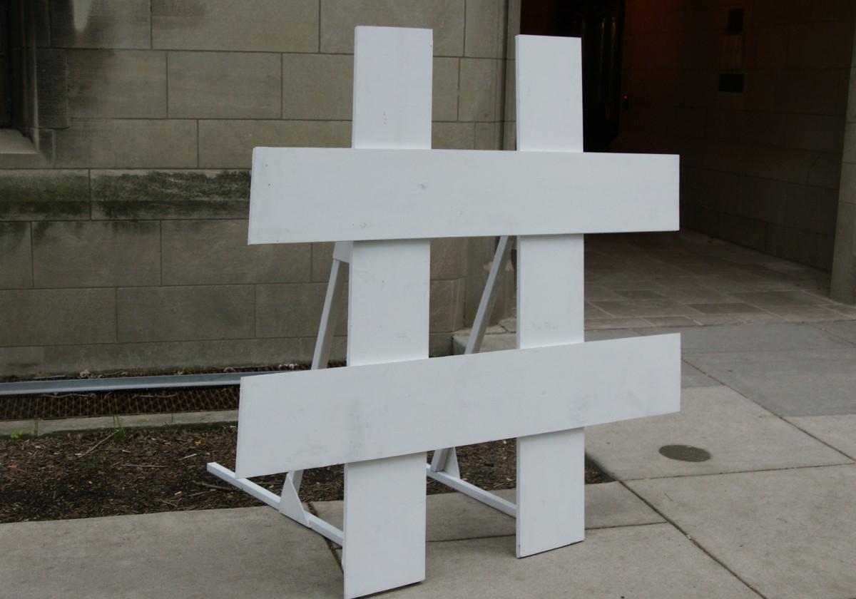 Hash sign sculpture