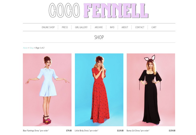 Coco Fennell shop webpage