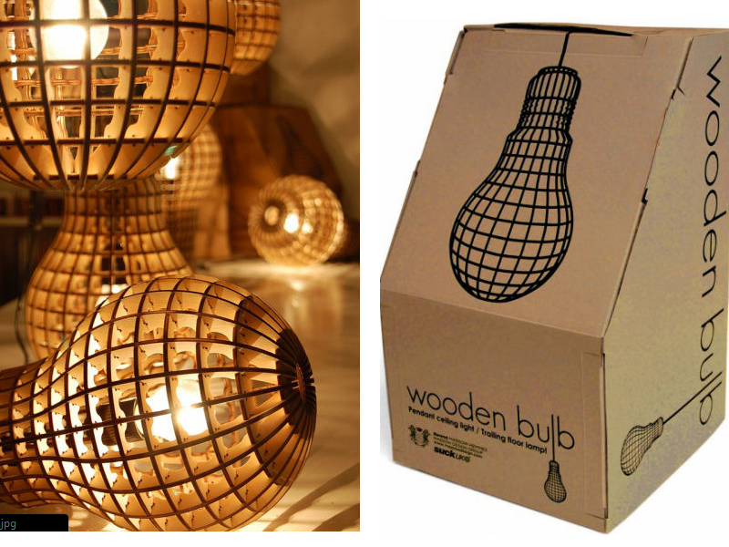 wooden bulb collage