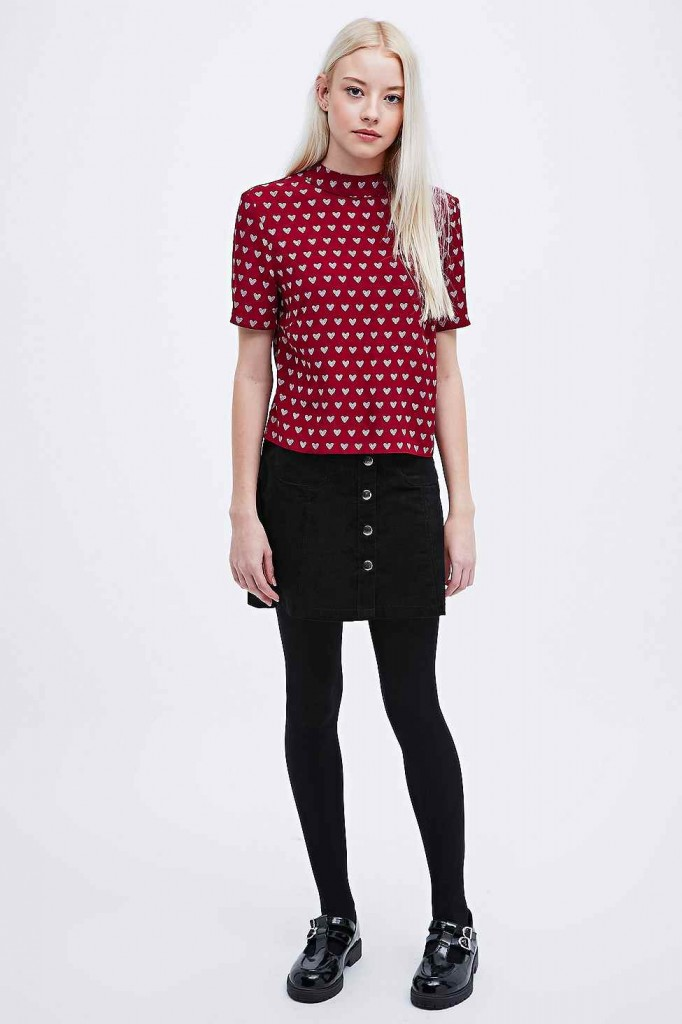 Urban Outfitters heart print funnel neck top