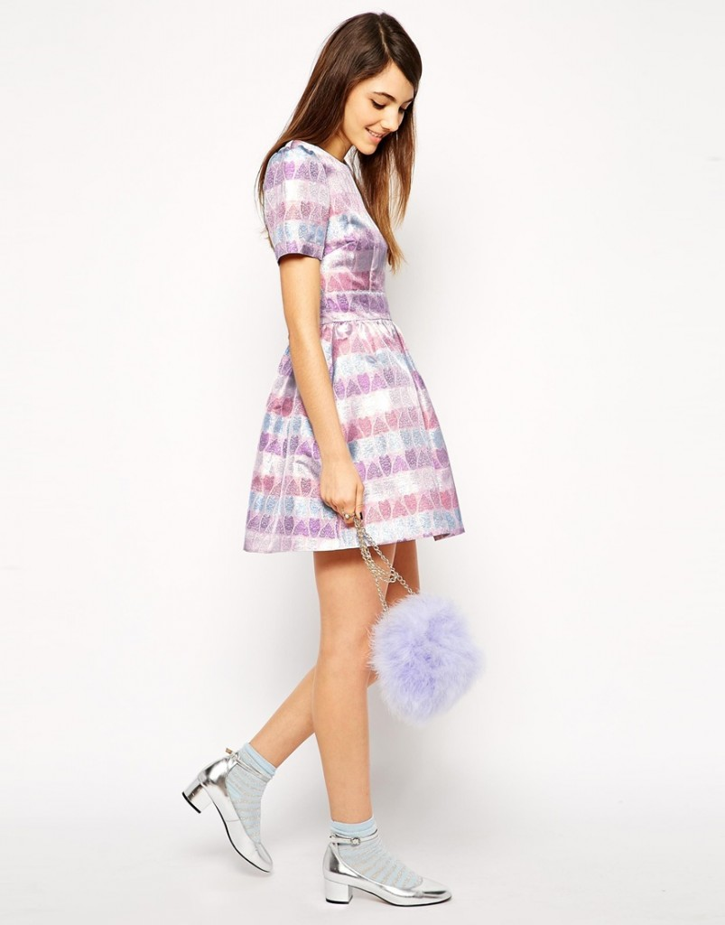 Metallic heart prom dress