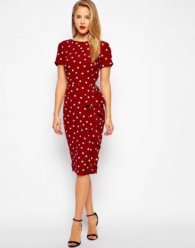Polka dot waterfall pencil dress