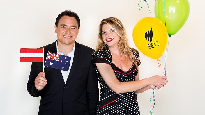 SBS - Eurovision 2013 Photo shoot with Sam Pang and Julia Zemiro on 26th March 2013 in Sydney