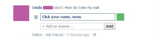 Mom Facebook wall fail