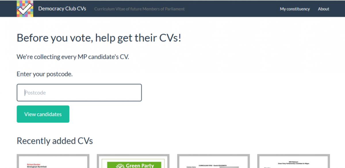The Democracy Club set up a web app for voters to ask MPs for their CVs.