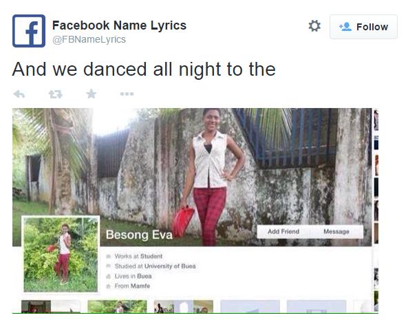 Funny twitter account of the day facebook name lyrics shinyshiny