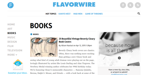 Interesting websites: Flavorwire.