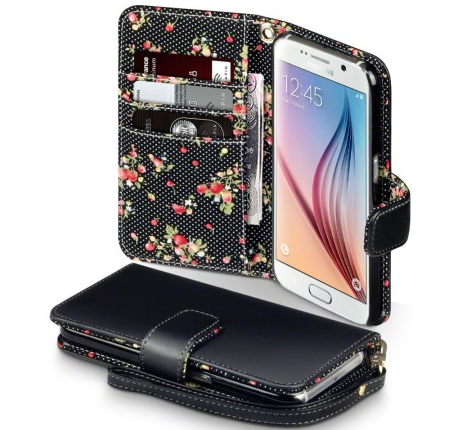 Olixar leather-style floral wallet Samsung Galaxy S6 case.