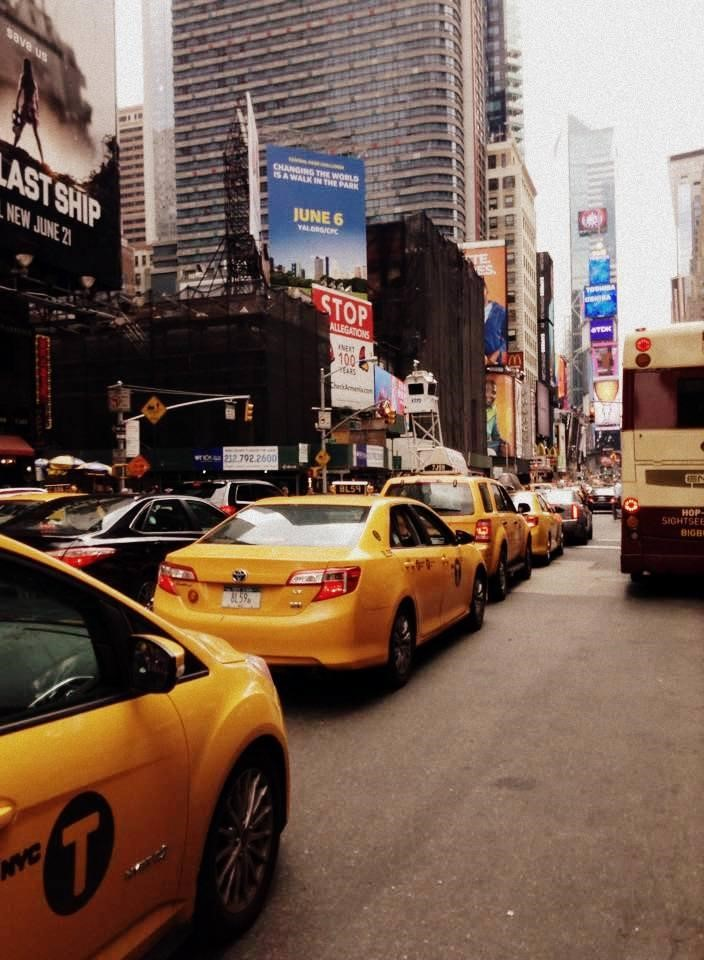 Taxi crush on Seventh Avenue, which dissects the hectic Times Square and Madison Square Gardens