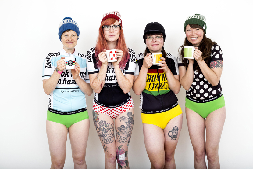 Look Mum No Hands women's podium pants - the panel agreed this is a fantastic example of cycling advertising